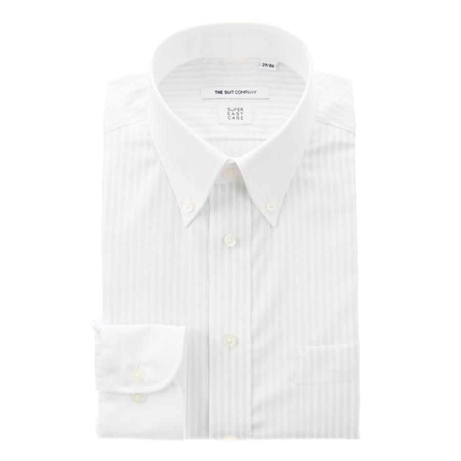 ドレスシャツ/長袖/メンズ/COOL MAX/クレリック&ボタンダウンカラードレスシャツ ストライプ〔EC・FIT〕 ライトグレー×ホワイト