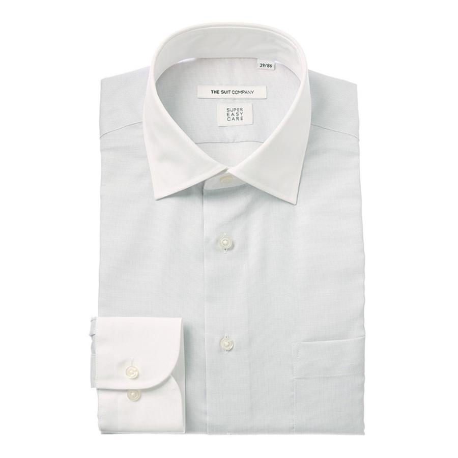 ドレスシャツ/長袖/メンズ/COOL MAX/クレリック&ワイドカラードレスシャツ 織柄 〔EC・FIT〕 ライトグレー×ホワイト
