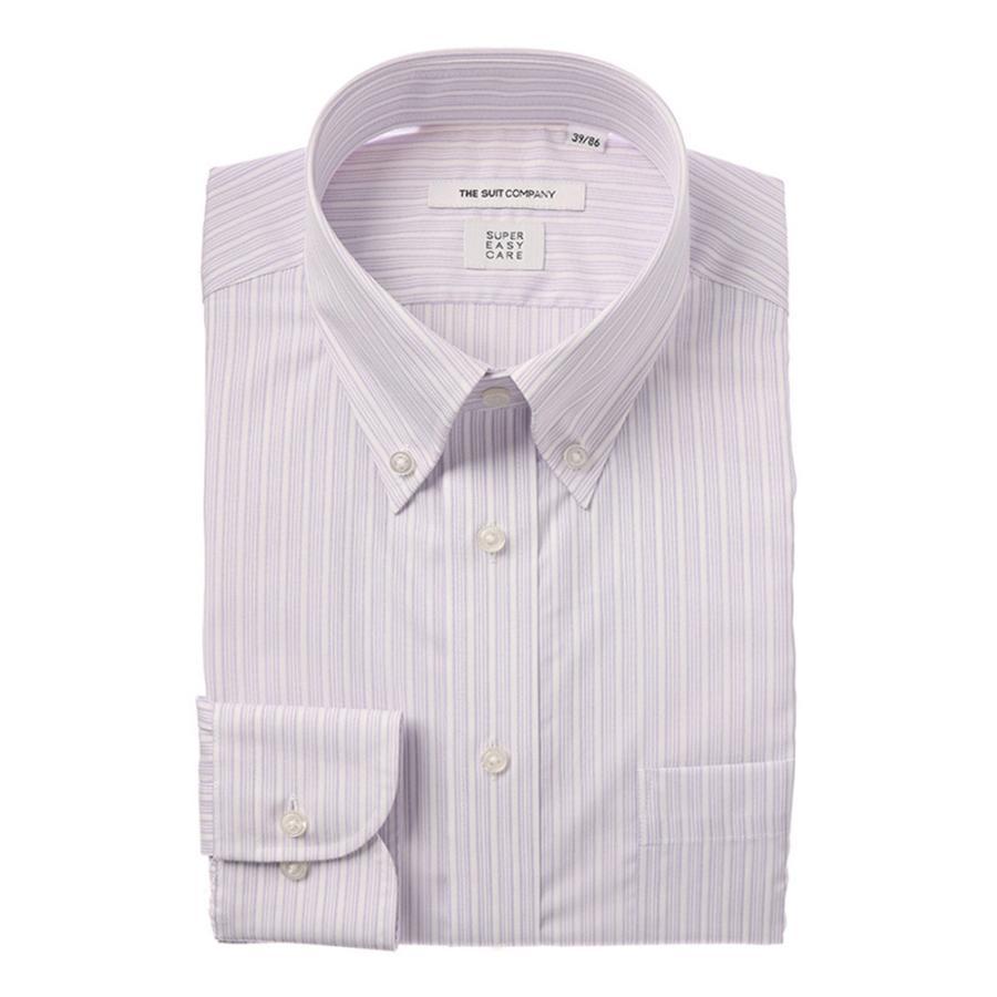 ドレスシャツ/長袖/メンズ/COOL MAX/ボタンダウンカラードレスシャツ ストライプ 〔EC・FIT〕 ホワイト×パープル
