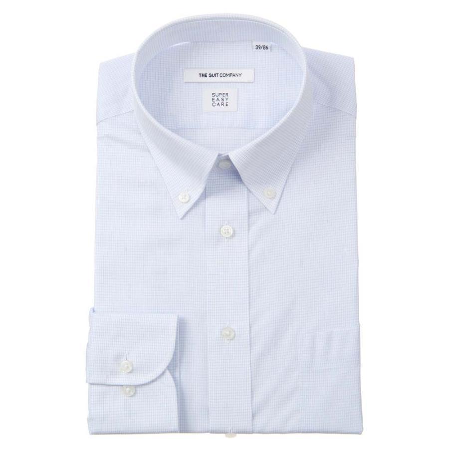 ドレスシャツ/長袖/メンズ/COOL MAX・SUPER EASY CARE/ボタンダウンカラードレスシャツ〔EC・FIT〕 サックスブルー×ホワイト
