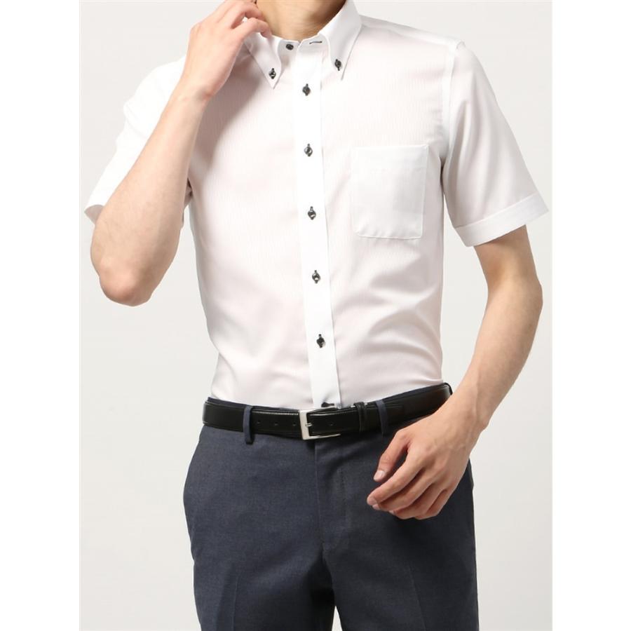 ドレスシャツ/半袖/メンズ/半袖・COOL MAX/ボタンダウンカラードレスシャツ シャドーストライプ 〔EC・FIT〕 ホワイト
