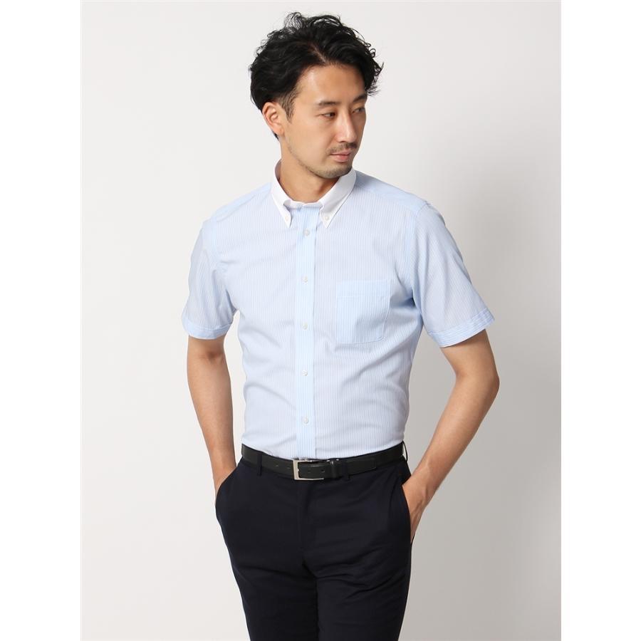 ドレスシャツ/半袖/メンズ/半袖・COOL MAX/クレリック&ボタンダウンカラードレスシャツ ストライプ 〔EC・FIT〕 サックスブルー×ホワイト