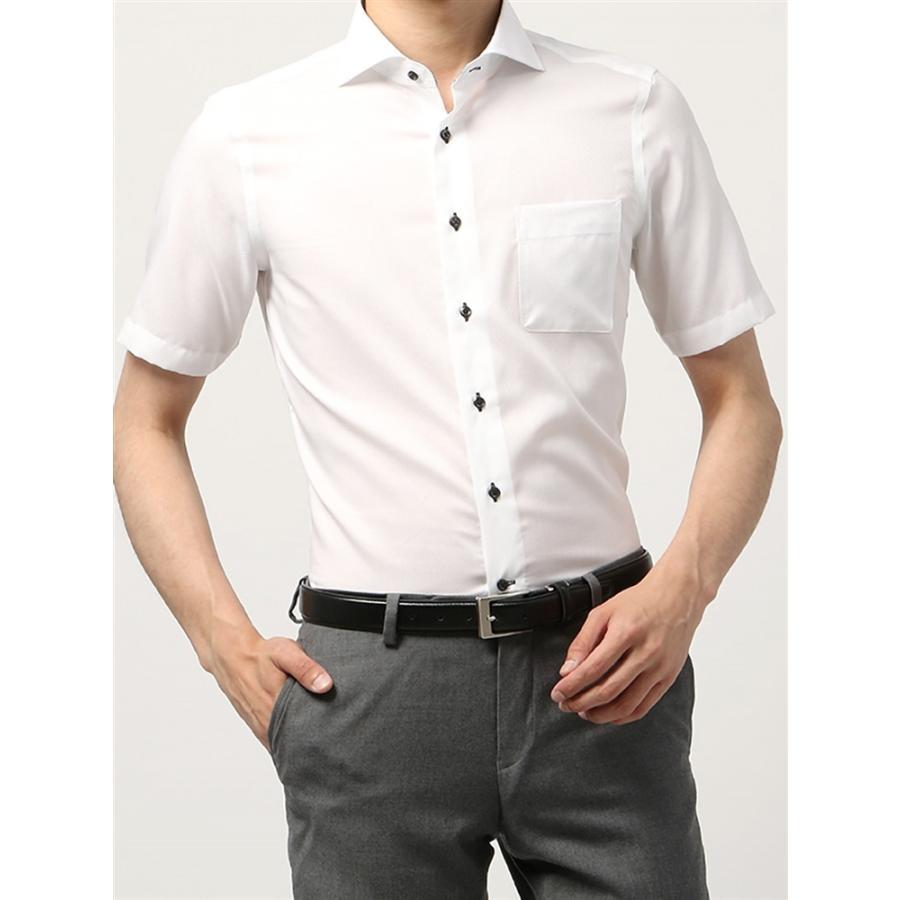 ドレスシャツ/半袖/メンズ/半袖・COOL MAX/ホリゾンタルカラードレスシャツ シャドーチェック 〔EC・FIT〕 ホワイト