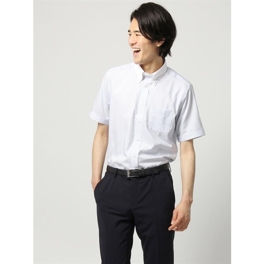 ドレスシャツ/半袖/メンズ/半袖・COOL MAX/クレリック&ボタンダウンカラードレスシャツ ストライプ 〔EC・FIT〕 ホワイト×ブルー×ネイビー