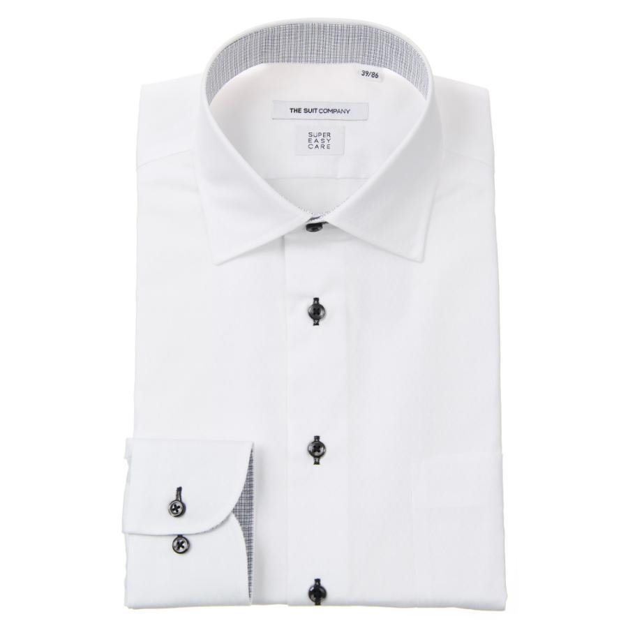 ドレスシャツ/長袖/メンズ/SUPER EASY CARE/ワイドカラードレスシャツ シャドーチェック 〔EC・FIT〕 ホワイト