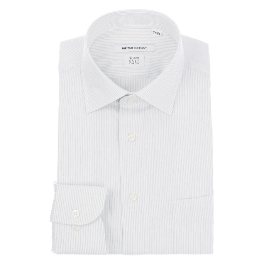ドレスシャツ/長袖/メンズ/SUPER EASY CARE/ワイドカラードレスシャツ ストライプ  〔EC・FIT〕 ライトグレー×ホワイト