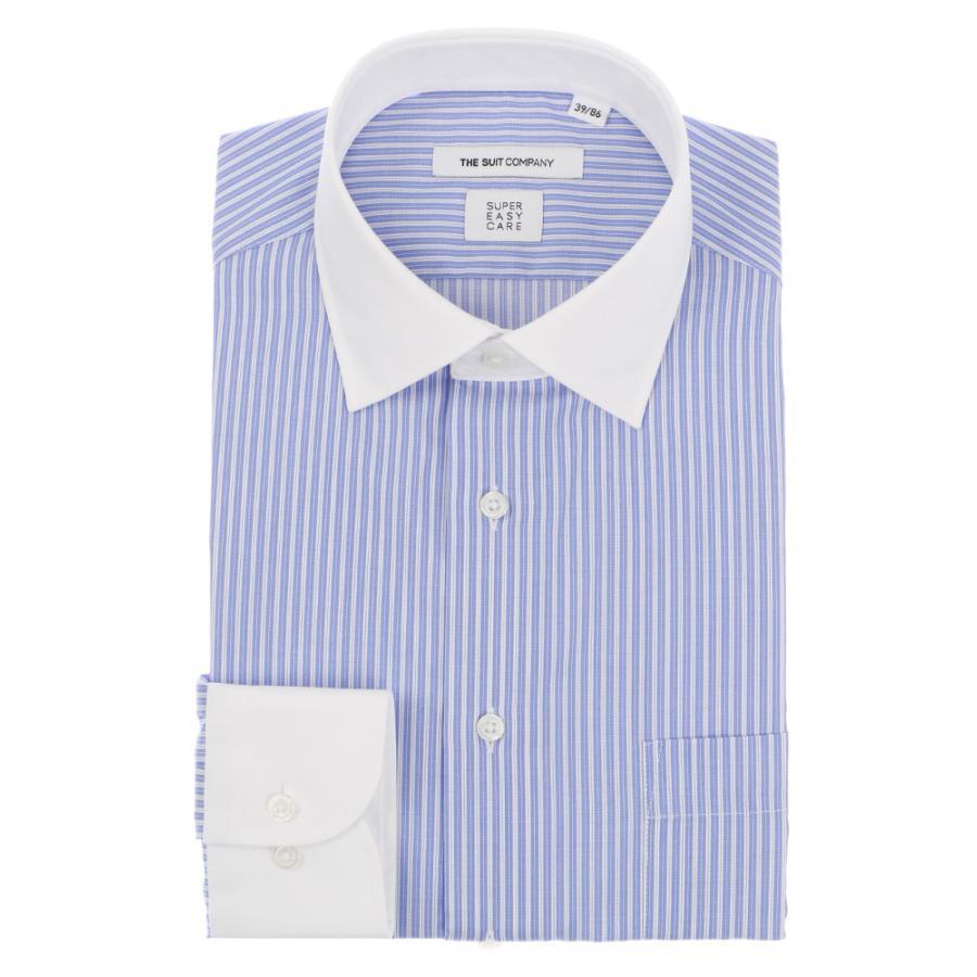 ドレスシャツ/長袖/メンズ/SUPER EASY CARE/クレリック&ワイドカラードレスシャツ ストライプ 〔EC・FIT〕 ブルー×ホワイト