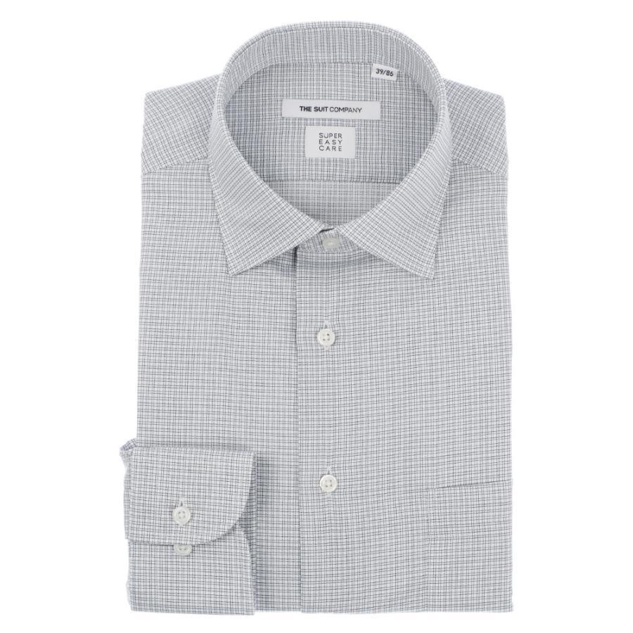 ドレスシャツ/長袖/メンズ/SUPER EASY CARE/ワイドカラードレスシャツ チェック 〔EC・FIT〕 ライトグレー×チャコールグレー×ホワイト