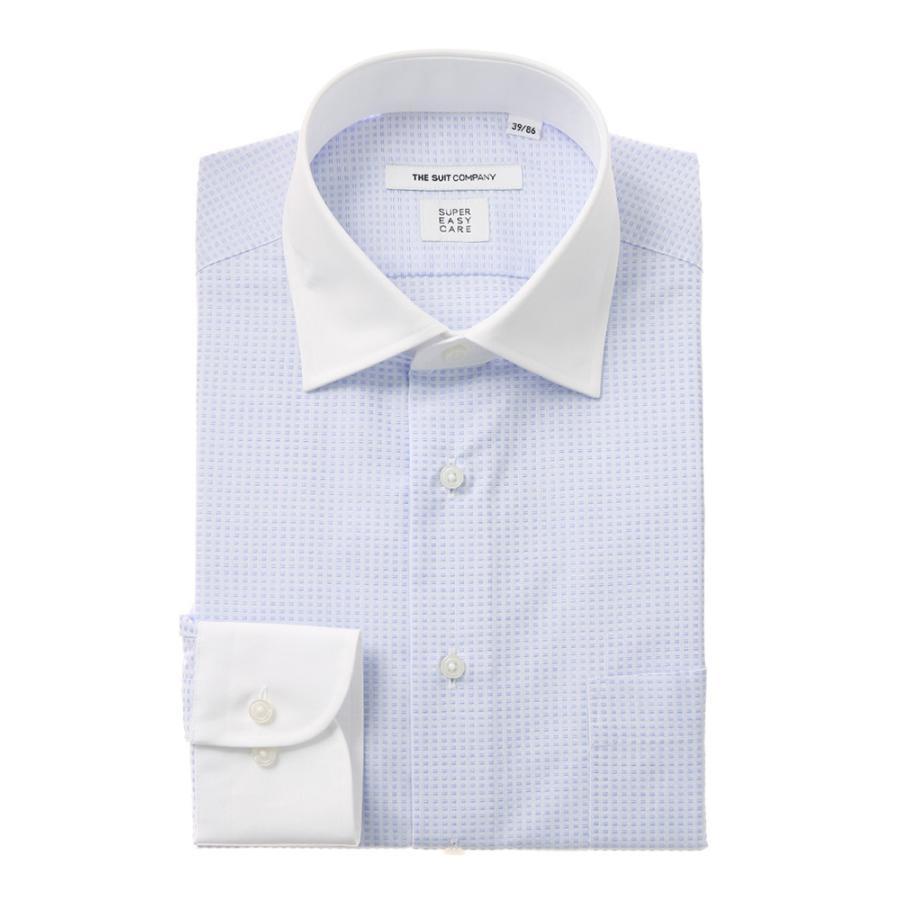 ドレスシャツ/長袖/メンズ/SUPER EASY CARE/クレリック&ワイドカラードレスシャツ 小紋 〔EC・FIT〕 ホワイト×サックスブルー
