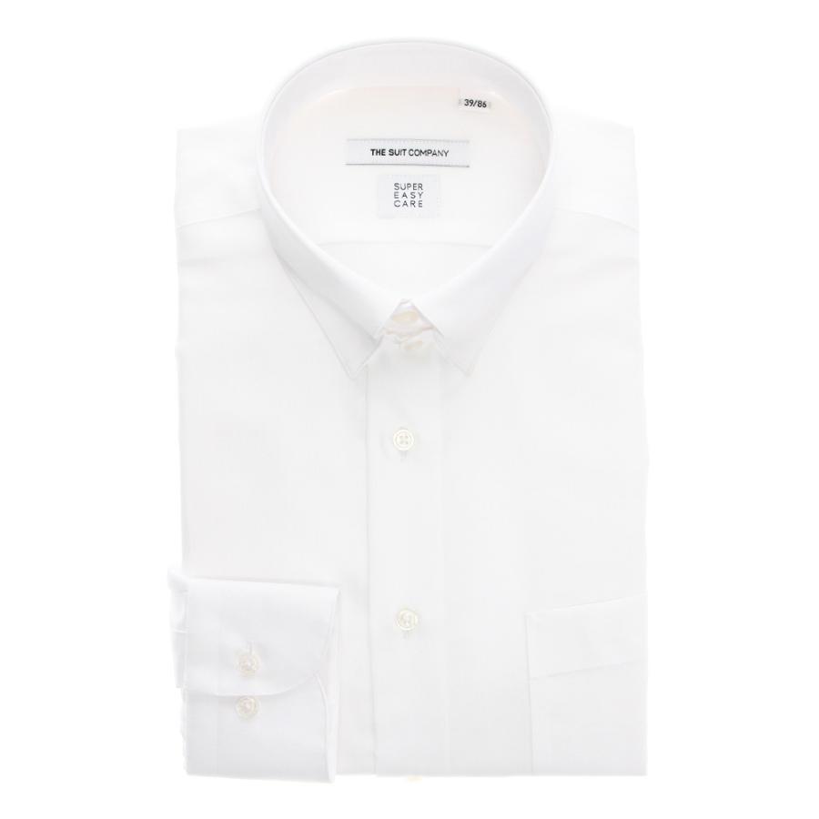 ドレスシャツ/長袖/メンズ/SUPER EASY CARE/タブカラードレスシャツ 織柄 〔EC・FIT〕 ホワイト
