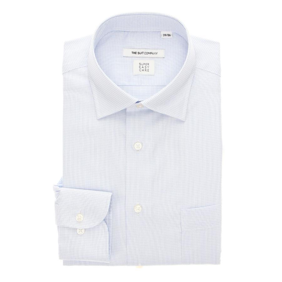 ドレスシャツ/長袖/メンズ/THERMO LITE/ワイドカラードレスシャツ マイクロチェック 〔EC・FIT〕 ホワイト×サックスブルー