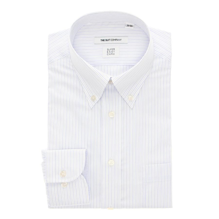 ドレスシャツ/長袖/メンズ/THERMO LITE/ボタンダウンカラードレスシャツ ストライプ 〔EC・FIT〕 ホワイト×サックスブルー