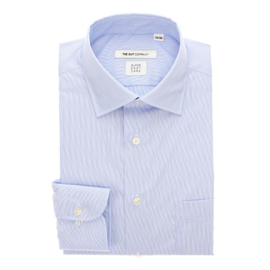 ドレスシャツ/長袖/メンズ/THERMO LITE/ワイドカラードレスシャツ ストライプ 〔EC・FIT〕 サックスブルー×ホワイト