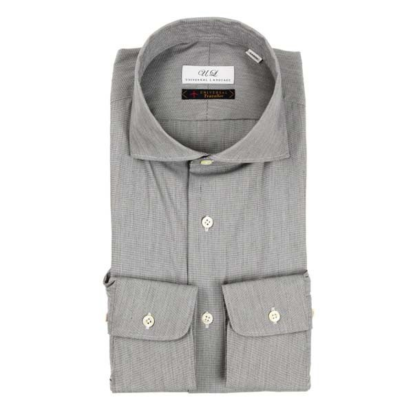 ドレスシャツ/長袖/メンズ/ホリゾンタルカラードレスシャツ 無地/Fabric by Albini/ ミディアムグレー