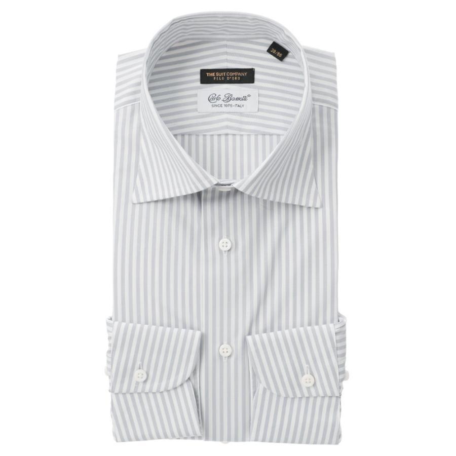 ドレスシャツ/長袖/メンズ/FILO D'ORO/ワイドカラードレスシャツ/Fabric by CarloBassetti/ ホワイト×グレー