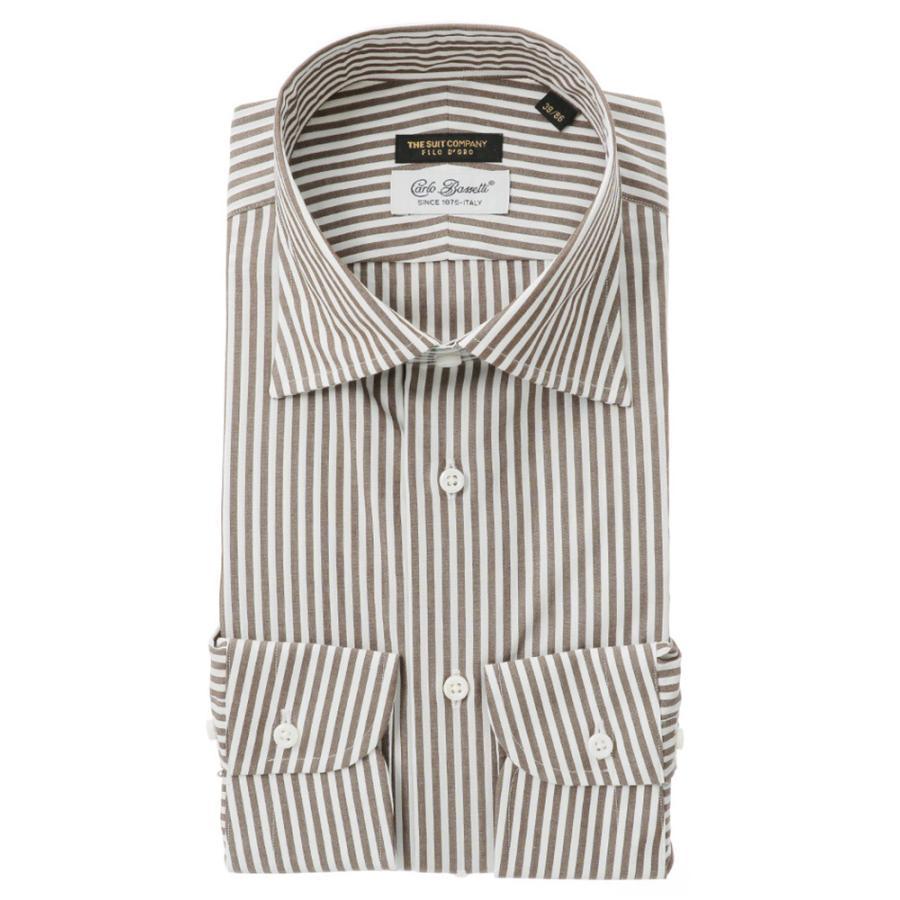 ドレスシャツ/長袖/メンズ/FILO D'ORO/ワイドカラードレスシャツ/Fabric by CarloBassetti/ ホワイト×ブラウン