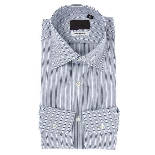 ドレスシャツ/長袖/メンズ/ワイドカラードレスシャツ ストライプ ホワイト×ネイビー×ブラック