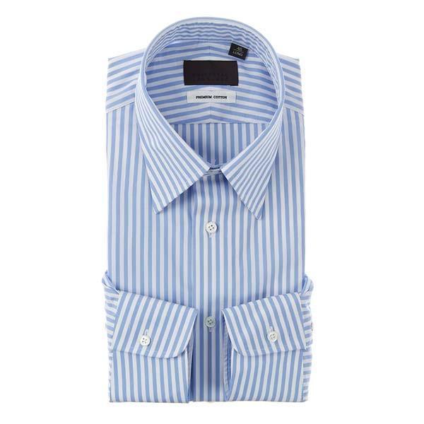 ドレスシャツ/長袖/メンズ/レギュラーカラードレスシャツ ロンドンストライプ サックスブルー×ホワイト