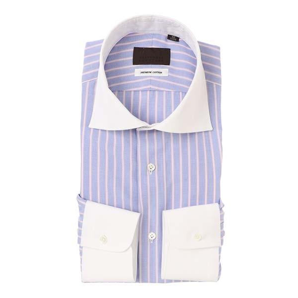 ドレスシャツ/長袖/メンズ/クレリックカラードレスシャツ ストライプ ブルー×オレンジ×ホワイト