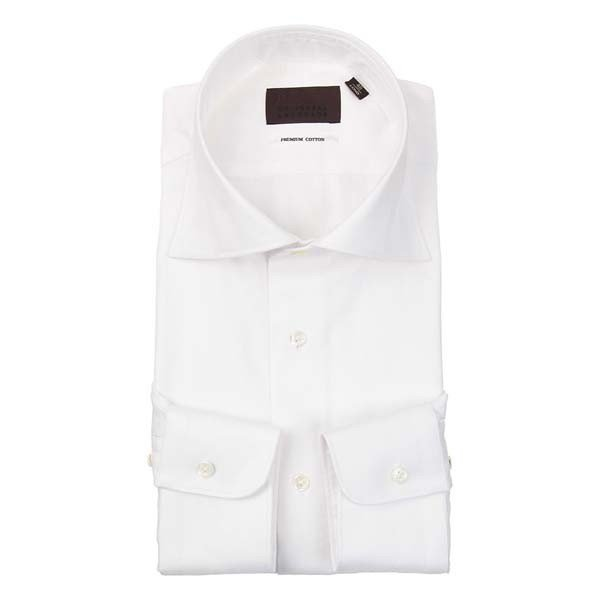 ドレスシャツ/長袖/メンズ/ホリゾンタルカラードレスシャツ 織柄 ホワイト