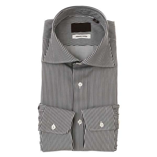 ドレスシャツ/長袖/メンズ/ホリゾンタルカラードレスシャツ ストライプ ブラック×ホワイト