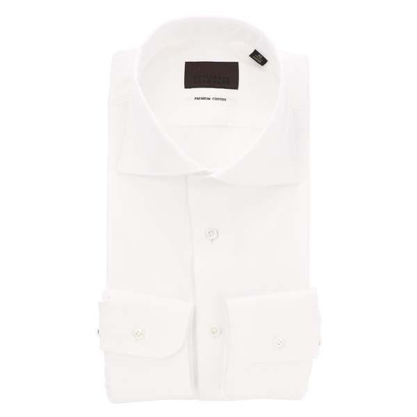 ドレスシャツ/長袖/メンズ/ホリゾンタルカラードレスシャツ ヘリンボーン ホワイト