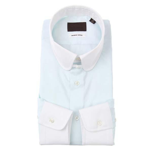 ドレスシャツ/長袖/メンズ/クレリック&ラウンドタブカラードレスシャツ サックスブルー