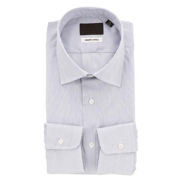 ドレスシャツ/長袖/メンズ/ワイドカラードレスシャツ ストライプ ホワイト×ネイビー