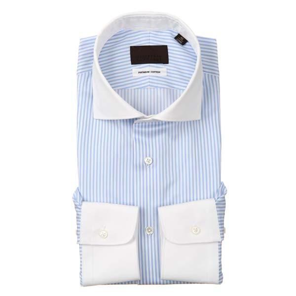 ドレスシャツ/長袖/メンズ/クレリック&ホリゾンタルカラードレスシャツ ストライプ ホワイト×ブルー