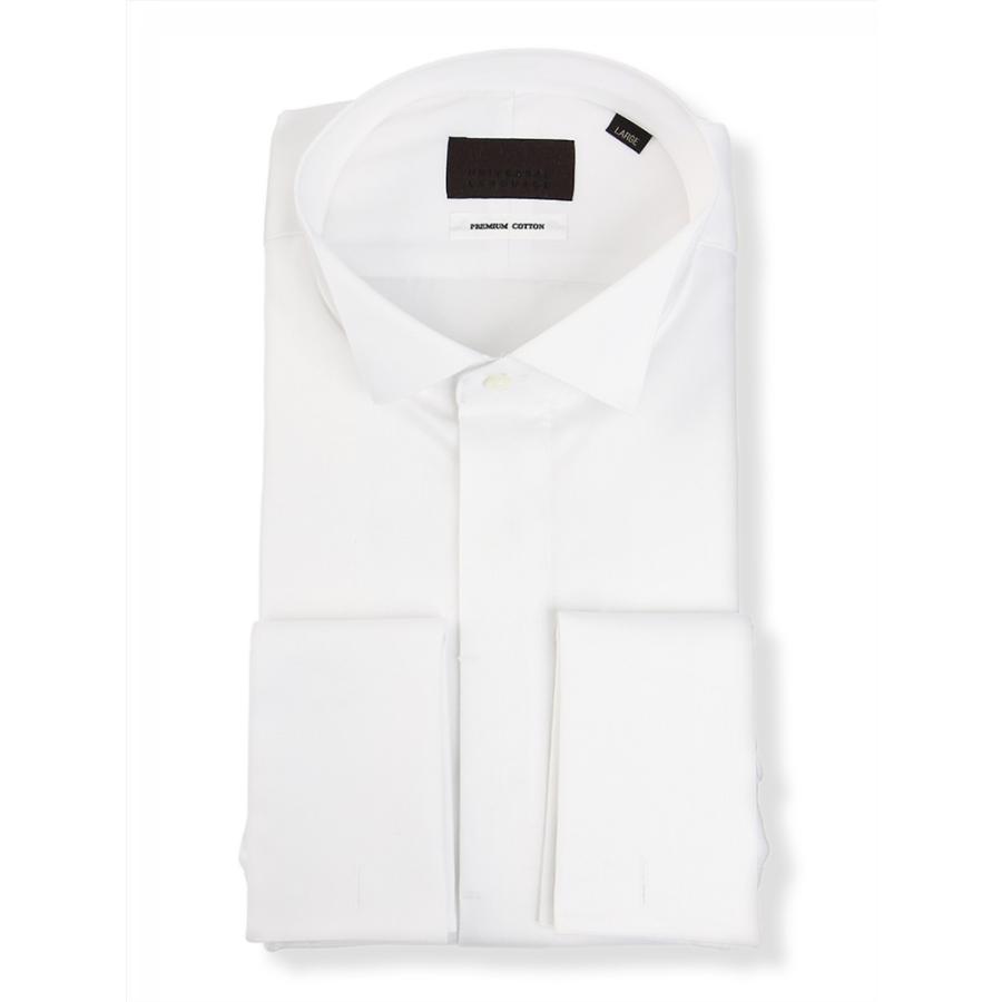 ドレスシャツ/長袖/メンズ/ダブルカフス&ウイングカラードレスシャツ 無地 ホワイト