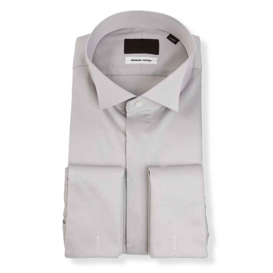 ドレスシャツ/長袖/メンズ/ダブルカフス&ウイングカラードレスシャツ 無地 ライトグレー