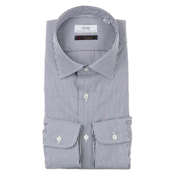 ドレスシャツ/長袖/メンズ/ワイドカラードレスシャツ ストライプ ネイビー×ホワイト