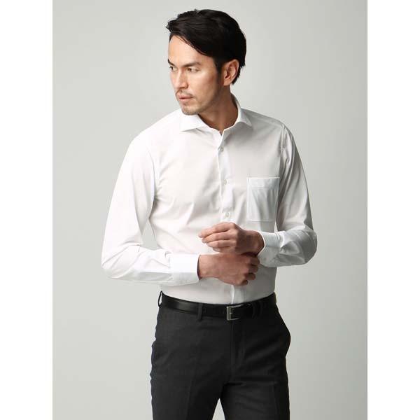 ドレスシャツ/長袖/メンズ/ジャージー素材/ホリゾンタルカラードレスシャツ シャドーストライプ ホワイト