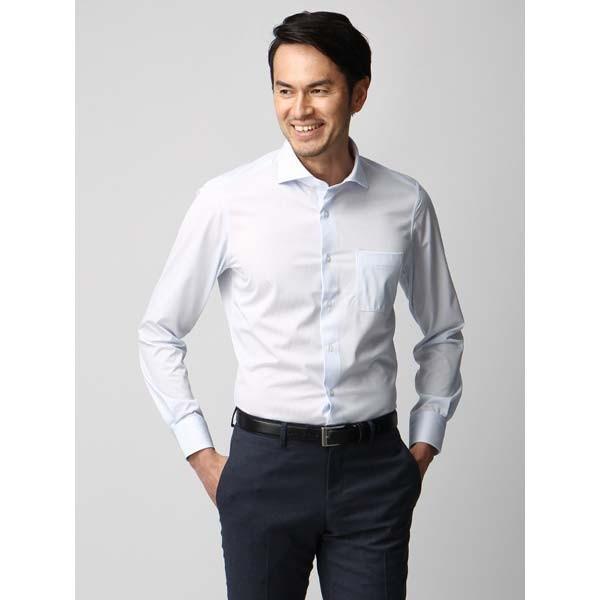 ドレスシャツ/長袖/メンズ/ジャージー素材/ホリゾンタルカラードレスシャツ ストライプ サックスブルー×ホワイト