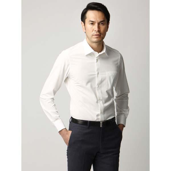 ドレスシャツ/長袖/メンズ/ジャージー素材/ワイドカラードレスシャツ 織柄 オフホワイト