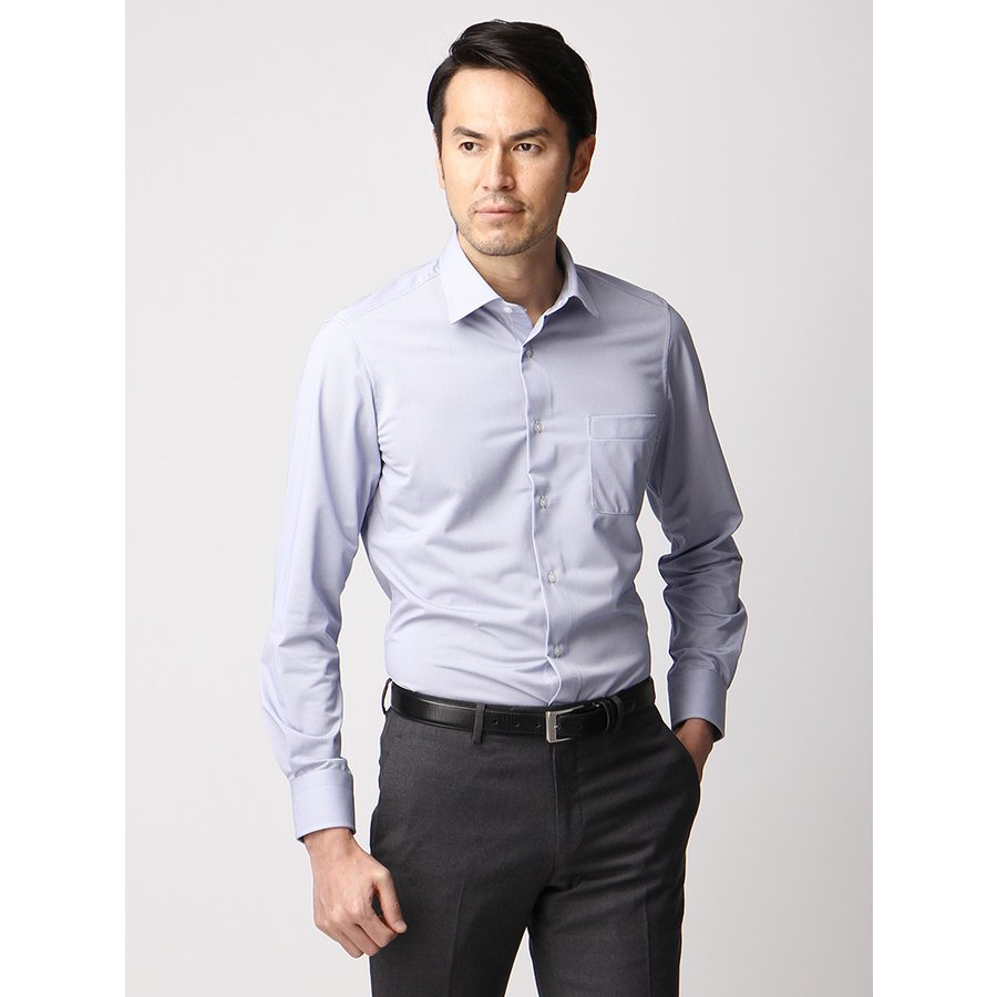ドレスシャツ/長袖/メンズ/ジャージー素材/ワイドカラードレスシャツ 織柄 ライトネイビー×ホワイト