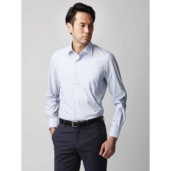 ドレスシャツ/長袖/メンズ/ジャージー素材/ワイドカラードレスシャツ ストライプ サックスブルー×ホワイト