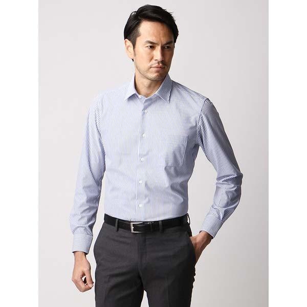 ドレスシャツ/長袖/メンズ/ジャージー素材/ワイドカラードレスシャツ ストライプ ブルー×ホワイト