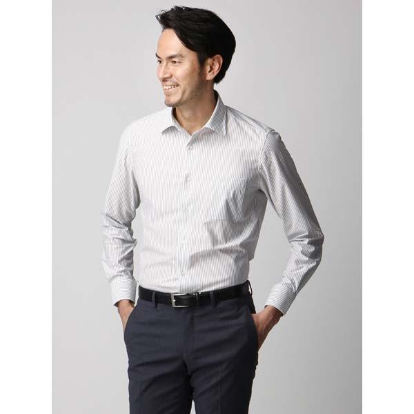 ドレスシャツ/長袖/メンズ/ジャージー素材/ワイドカラードレスシャツ ストライプ ライトグレー×ホワイト