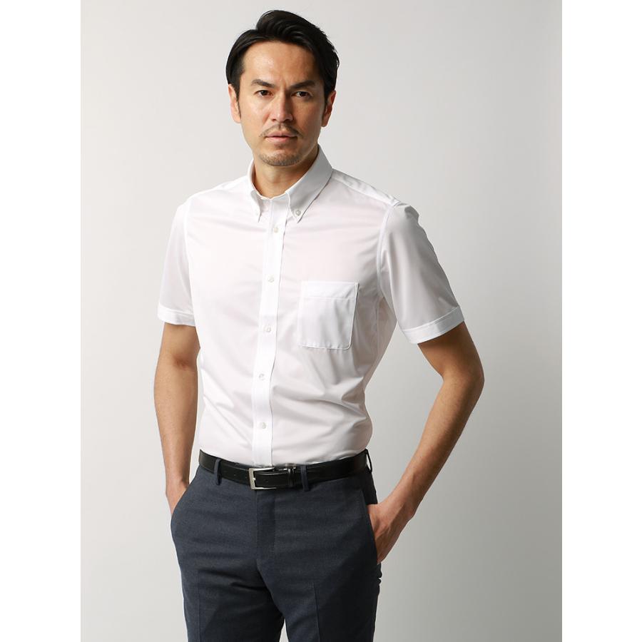 ドレスシャツ/半袖/メンズ/JAPAN FABRIC/半袖・ジャージー素材/ボタンダウンカラードレスシャツ 無地 ホワイト