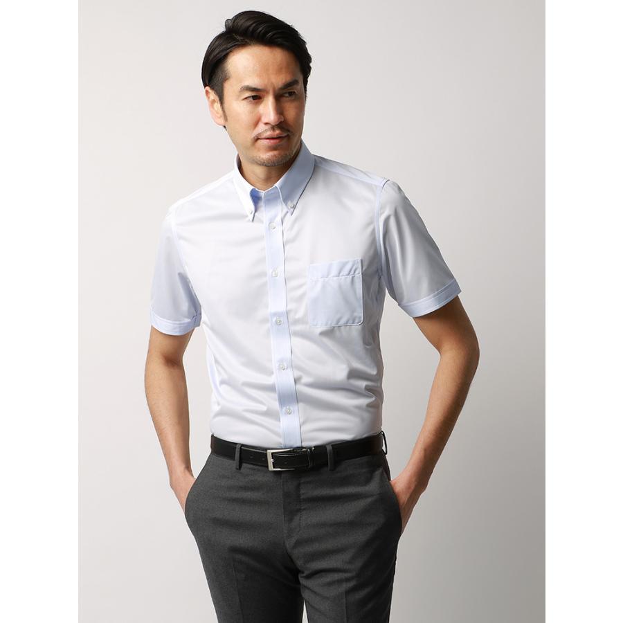 ドレスシャツ/半袖/メンズ/JAPAN FABRIC/半袖・ジャージー素材/ボタンダウンカラードレスシャツ 無地 サックスブルー