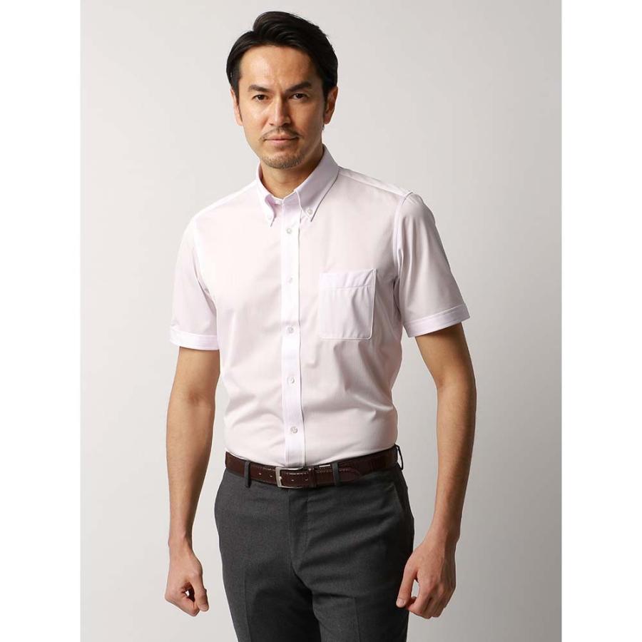 ドレスシャツ/半袖/メンズ/JAPAN FABRIC/半袖・ジャージー素材/ボタンダウンカラードレスシャツ ストライプ ピンク×ホワイト