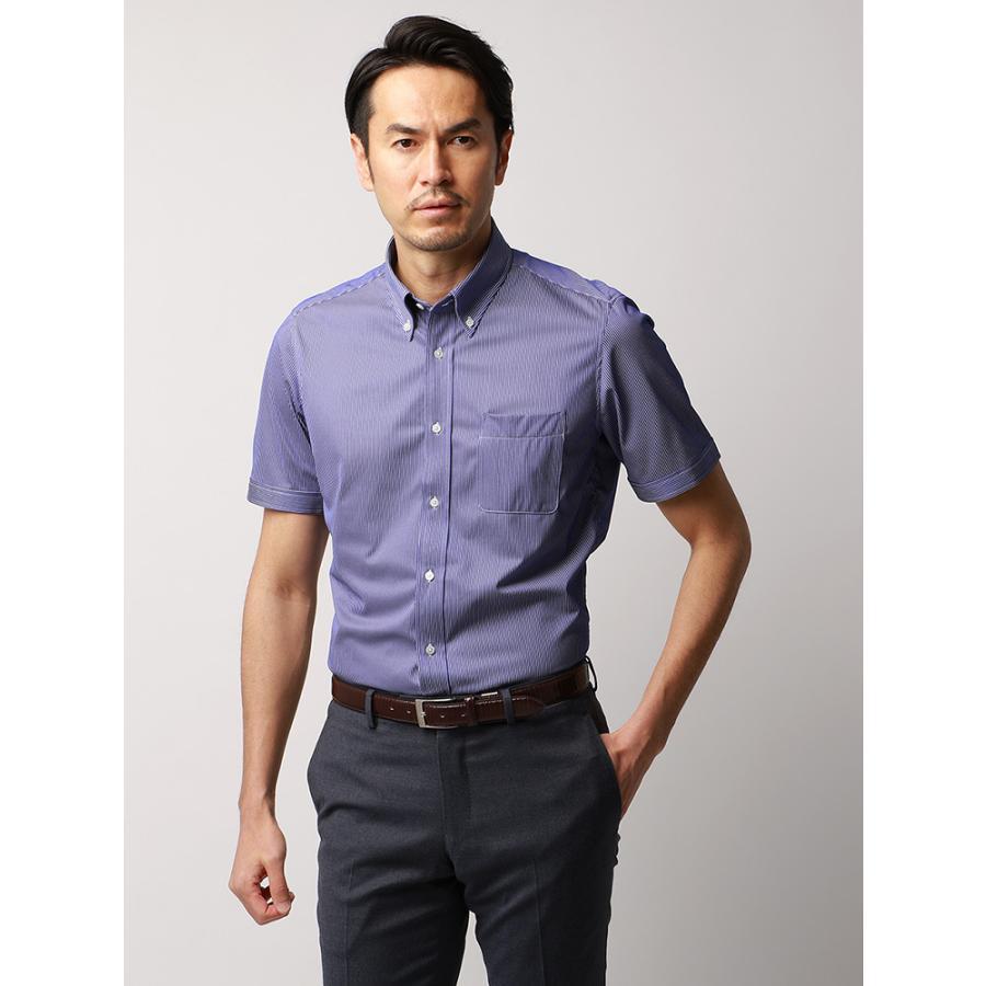 ドレスシャツ/半袖/メンズ/JAPAN FABRIC/半袖・ジャージー素材/ボタンダウンカラードレスシャツ ストライプ ネイビー×ホワイト