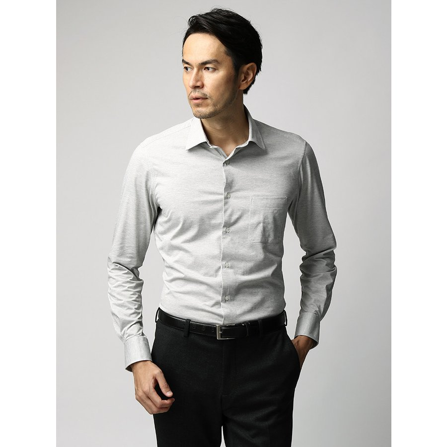 ドレスシャツ/長袖/メンズ/JAPAN FABRIC/ジャージー素材/ワイドカラードレスシャツ 織柄 ライトグレー
