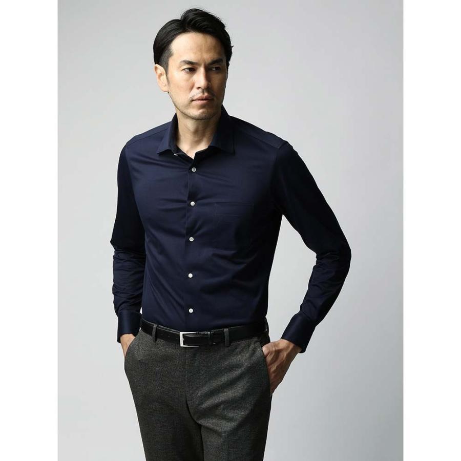 ドレスシャツ/長袖/メンズ/JAPAN FABRIC/ジャージー素材/ワイドカラードレスシャツ 無地 ネイビー