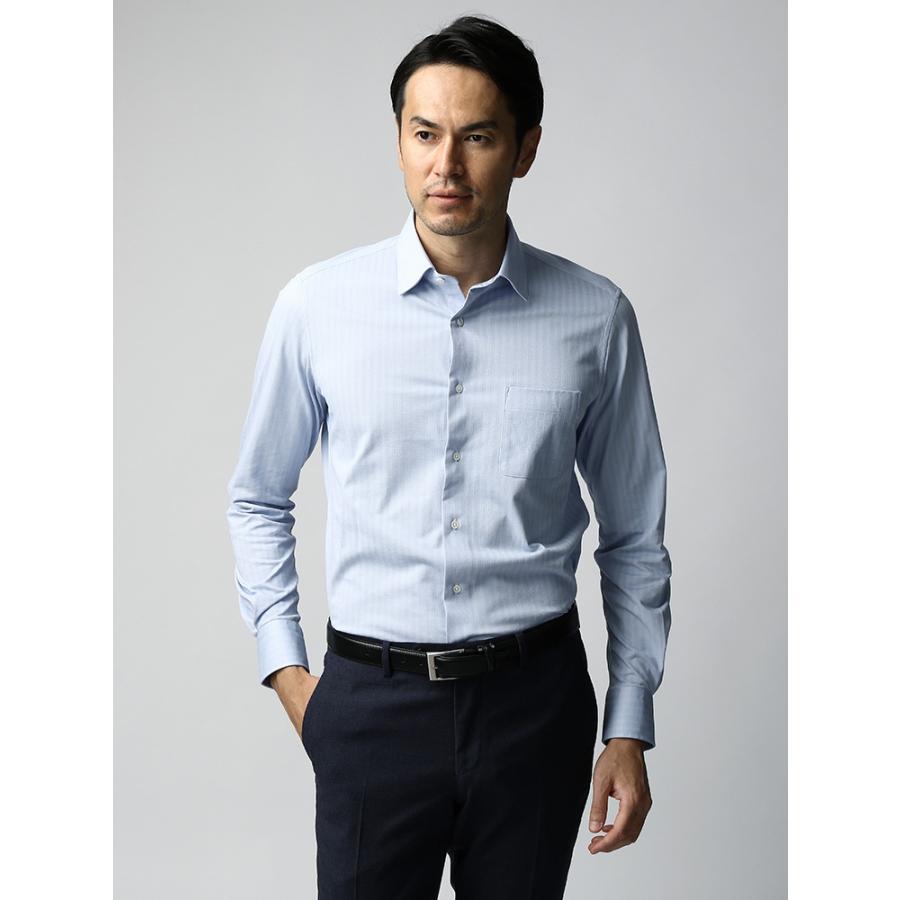 ドレスシャツ/長袖/メンズ/JAPAN FABRIC/ジャージー素材/ワイドカラードレスシャツ ヘリンボーン サックスブルー