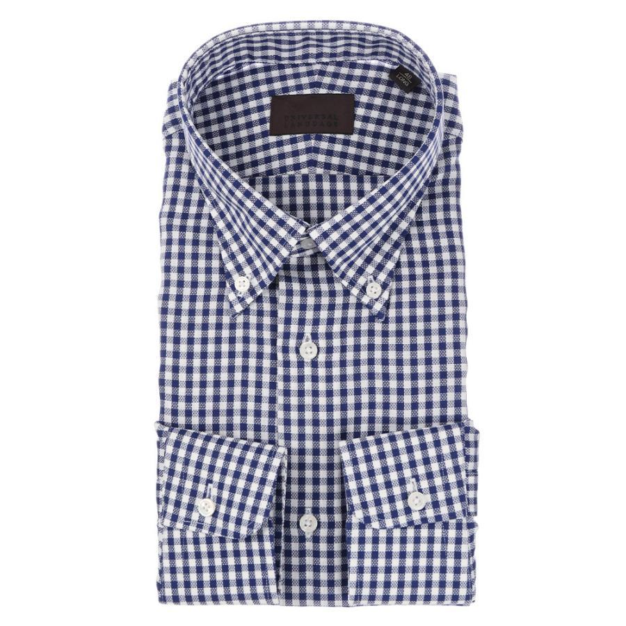 ドレスシャツ/長袖/メンズ/ICE COTTON/ボタンダウンカラードレスシャツ ギンガムチェック ネイビー×ホワイト
