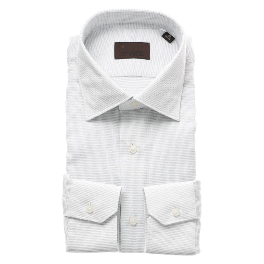 ドレスシャツ/長袖/メンズ/ICE COTTON/ワイドカラードレスシャツ 織柄 ライトグレー×ホワイト