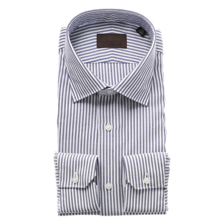 ドレスシャツ/長袖/メンズ/ICE COTTON/ワイドカラードレスシャツ ストライプ×織柄 ネイビー×ホワイト