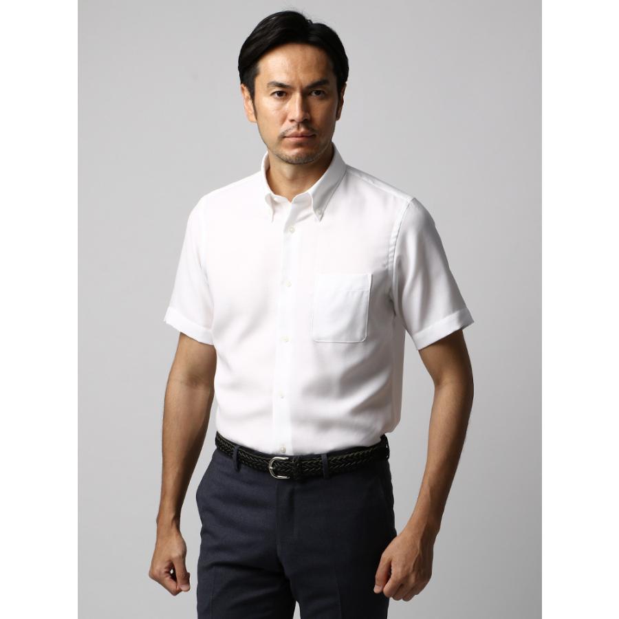 ドレスシャツ/半袖/メンズ/半袖・ICE COTTON/ボタンダウンカラードレスシャツ 織柄 ホワイト